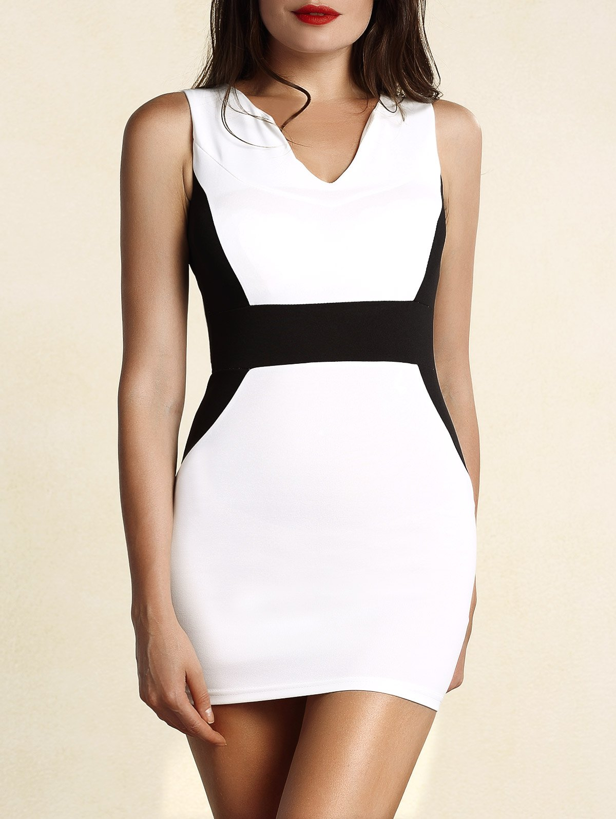 Sophisticated Round Collar Sleeveless Color Block Women's Dress - WHITE S