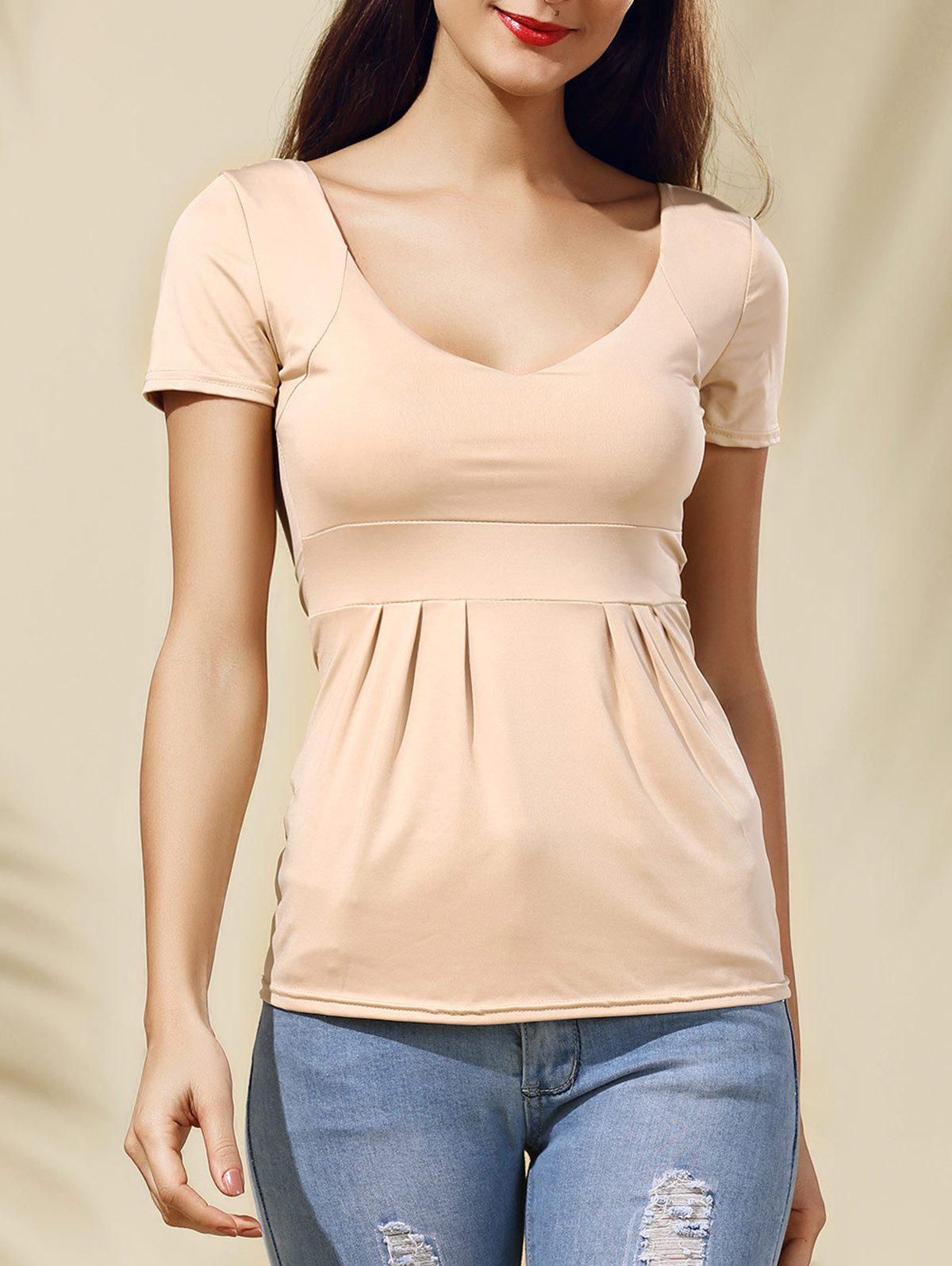 Trendy Pleated V-Neck Solid Color Short Sleeve Women's Tee