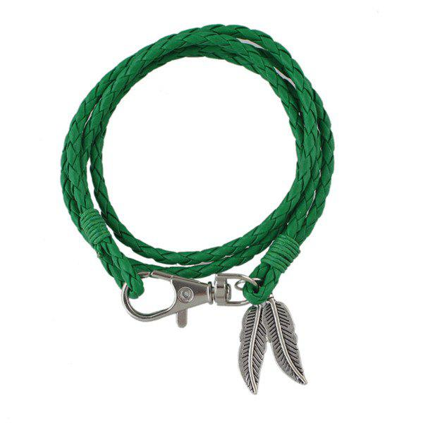 Feathers Pendant Braided Faux Leather Bracelet - GREEN