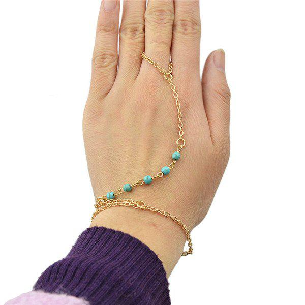 Chic Turquoise Embellished Women's Link Bracelet With Ring - GOLDEN