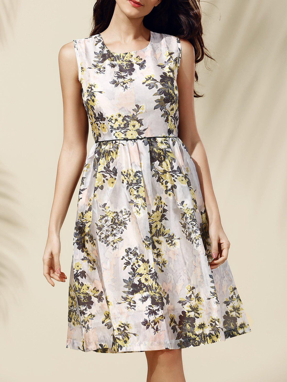 Sweet Zipper Design Floral Print Women's Dress - YELLOW S