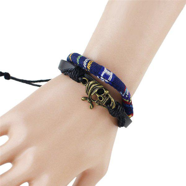 Stylish Hollow Out Skull Embellished Men's Tribal Style Wrap Bracelet -  DEEP BLUE