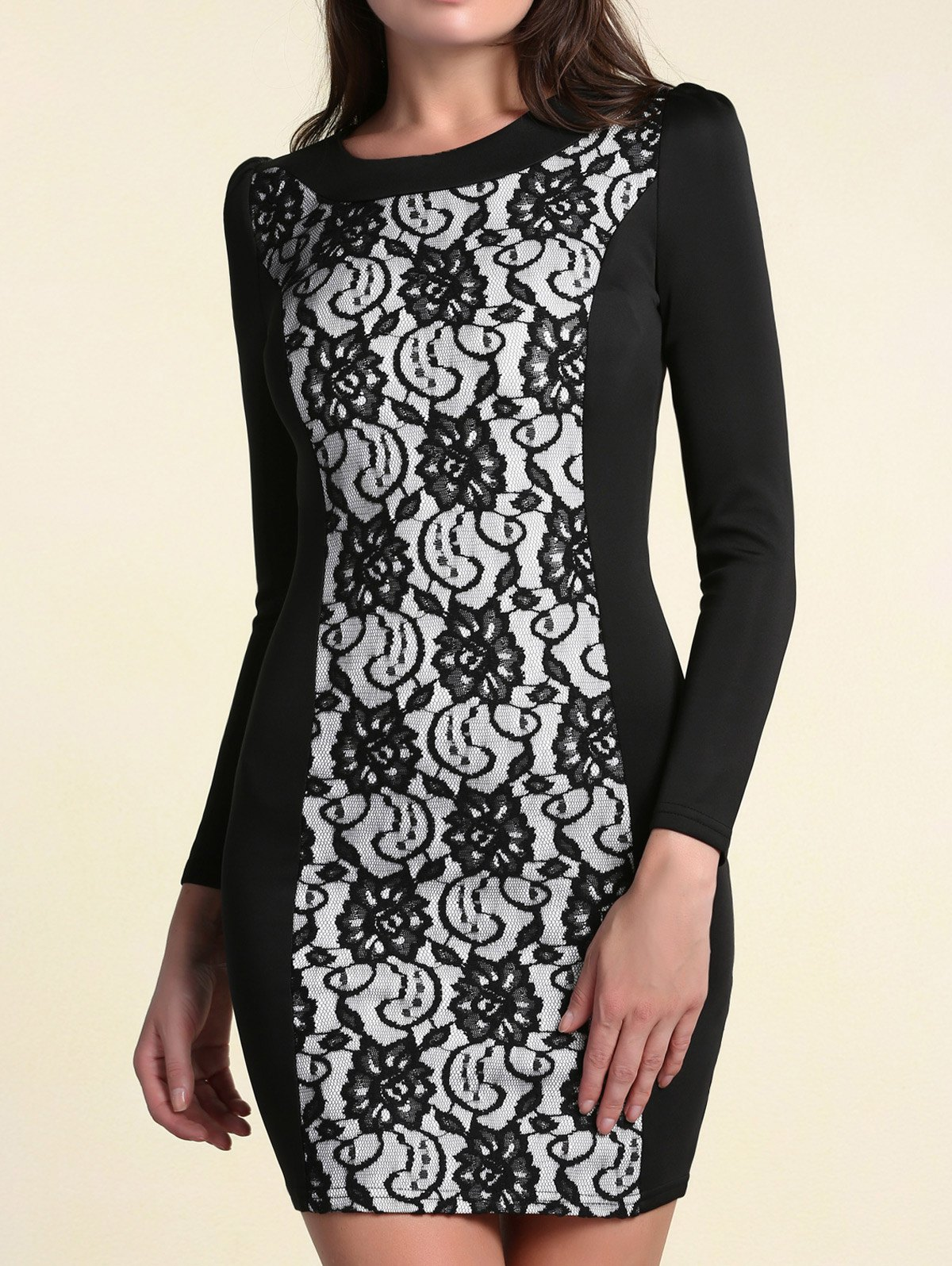 Elegant Round Collar Lace Spliced Long Sleeves Dress For Women - BLACK M