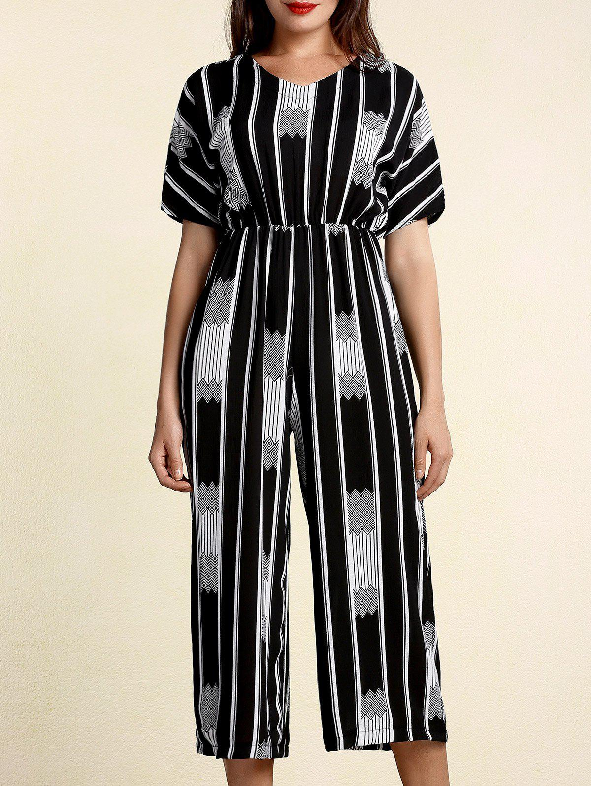 Chic V-Neck Short Sleeve Horizontal Line Jumpsuit For Women - WHITE/BLACK ONE SIZE(FIT SIZE XS TO M)