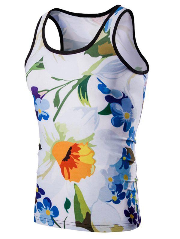 Casual 3D Round Neck Floral Printed Men's Tank Top - COLORMIX M