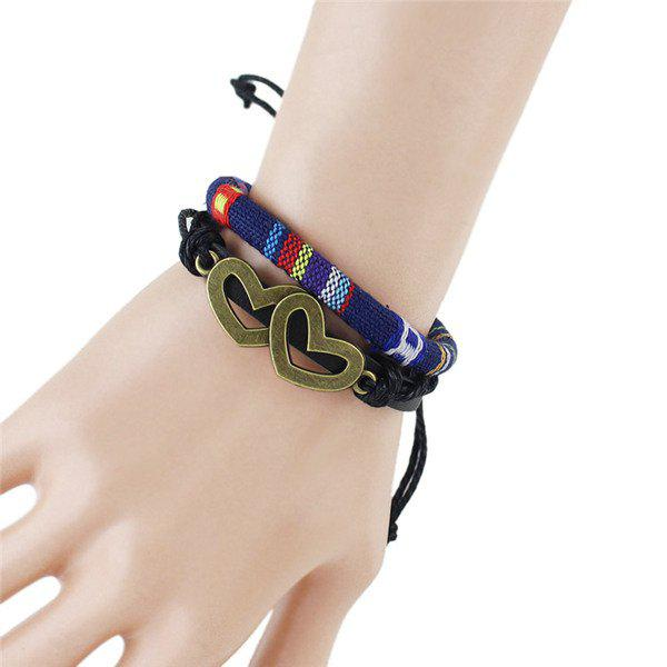 Tribal Hollow Double Hearts Embellished Wrap Bracelet - DEEP BLUE