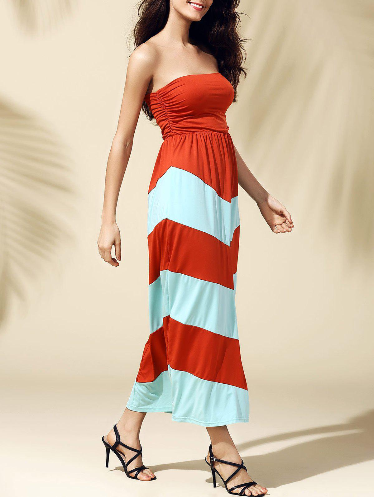 Elegant Zig Zag Strapless Color Block Women's Dress - S JACINTH