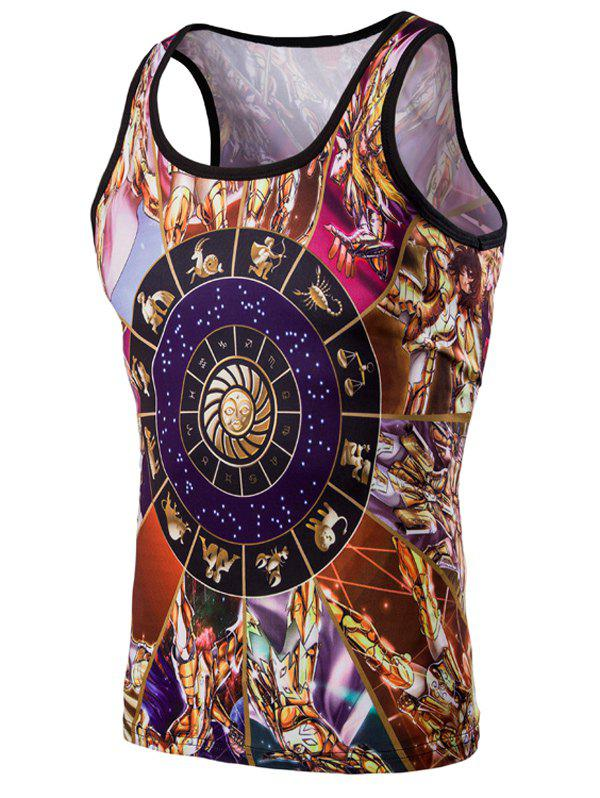 Fashion 3D Round Neck Cartoon Printed Men's Tank Top - COLORMIX M