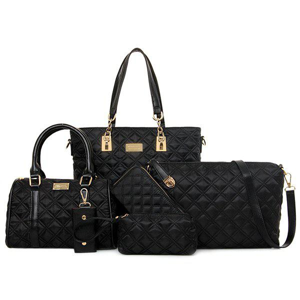 Fashion PU Leather and Ruched Design Shoulder Bag For Women - BLACK