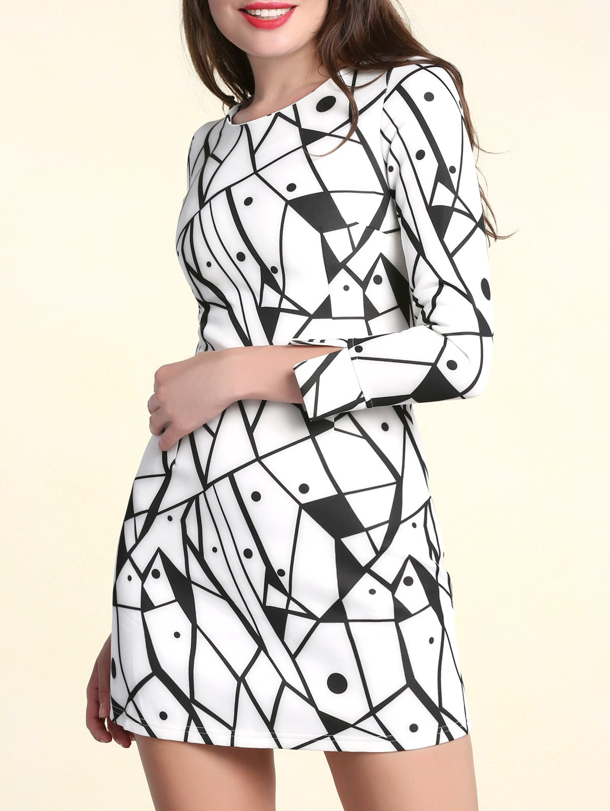 Fashionable Scoop Neck Printed Long Sleeves Dress For Women - WHITE S