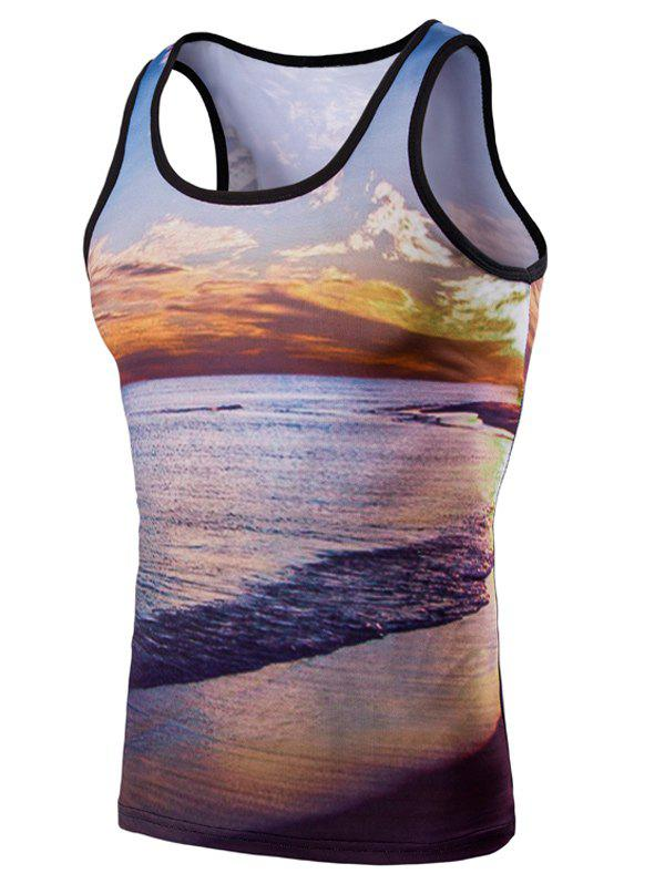 Modish 3D Round Neck Seaside Sunset Printed Men's Tank Top - COLORMIX M