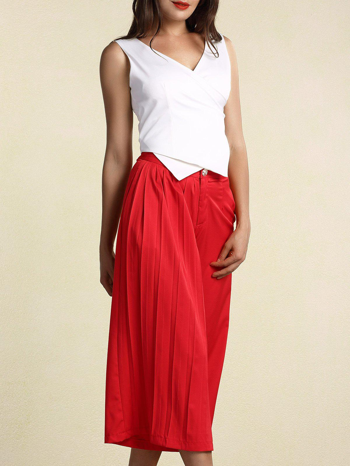 Chic Asymmetrical White Tank Top and Pleated Wide Leg Pants Twinset For Women - RED M
