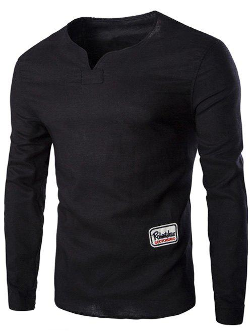 Men's Fashion Solid Color Pullover T-Shirts - BLACK XL