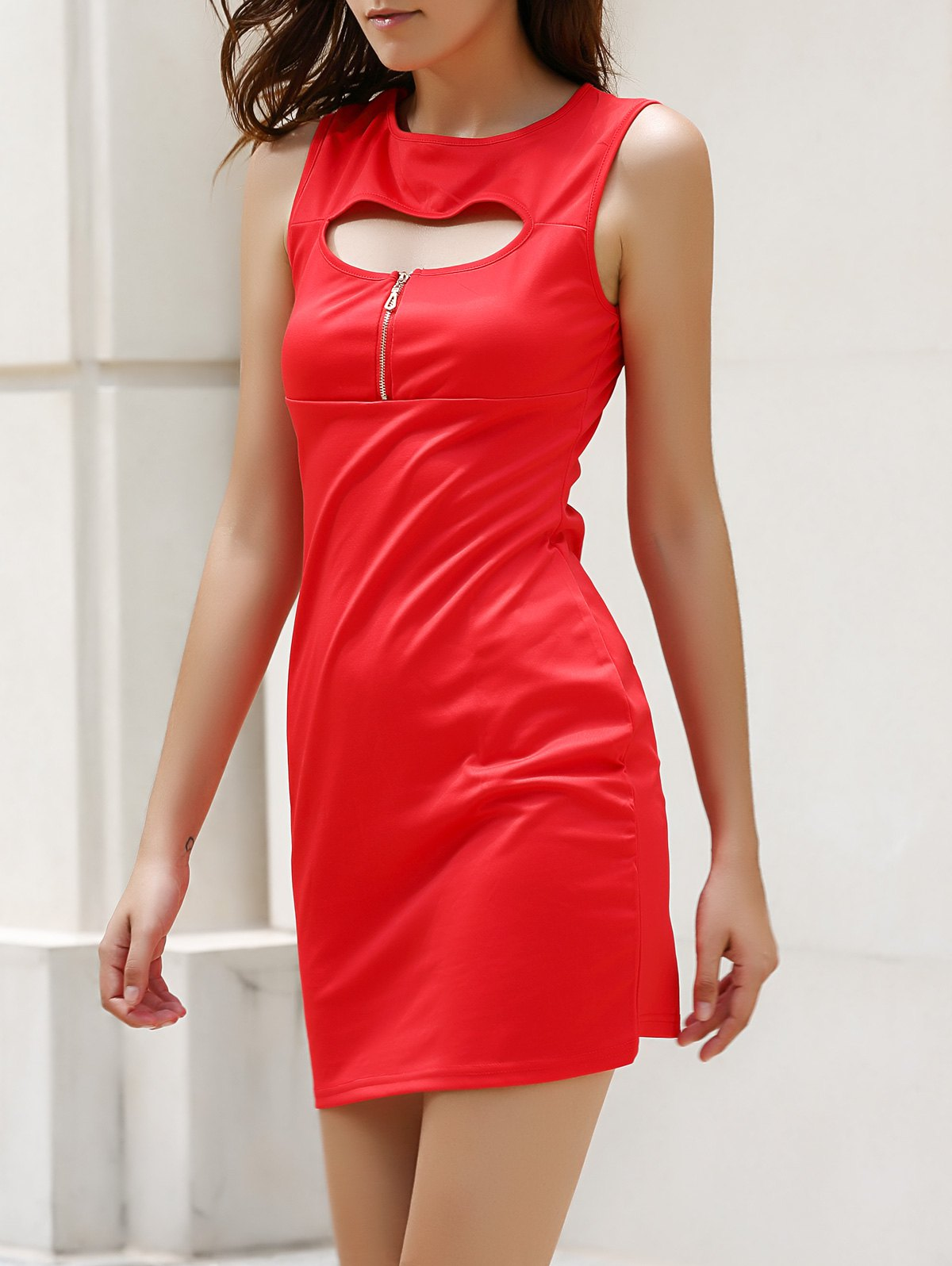 Alluring Sleeveless Jewel Neck Zippered Cut Out Pure Color Women's Bodycon Dress - RED XL