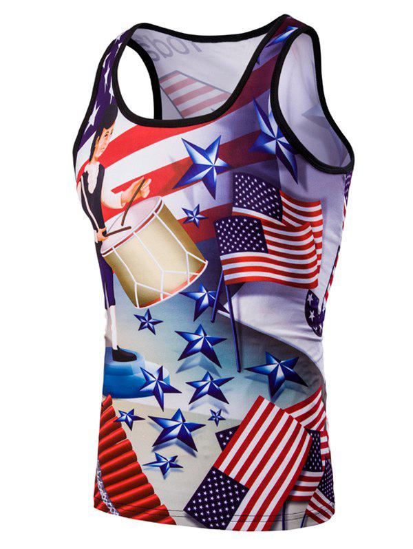 3D Slimming Fit Round Neck American Flag Printed Men's Tank Top - COLORMIX M