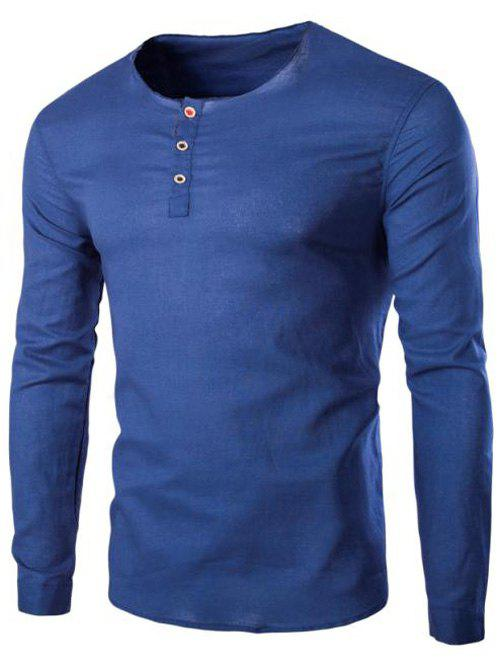 Men's Trendy Solid Color Pullover T-Shirts - BLUE M