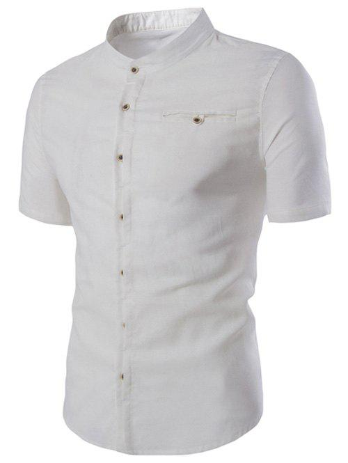 Men's Trendy Solid Color Single Breasted Shirts - WHITE L