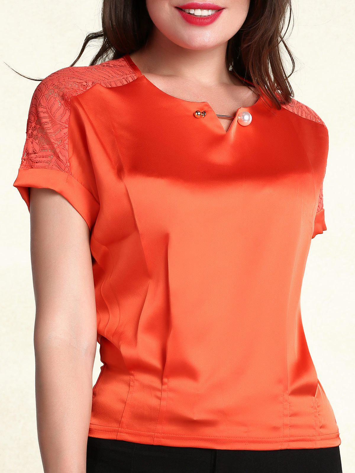 Ladylike Scoop Neck Short Sleeves Pearl Embellished Women's T-Shirt - ORANGE RED 2XL