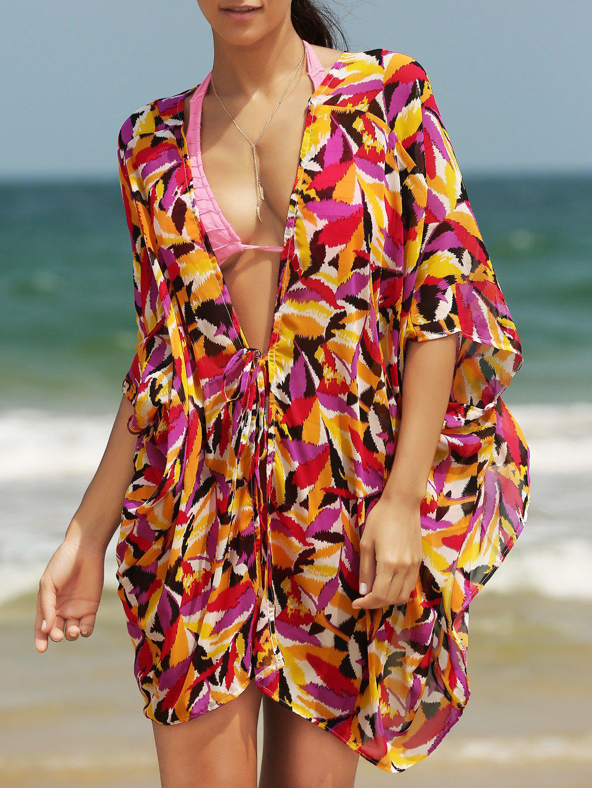 Chic Women's Plunging Neck Loose Print Cover Up - COLORMIX ONE SIZE(FIT SIZE XS TO M)