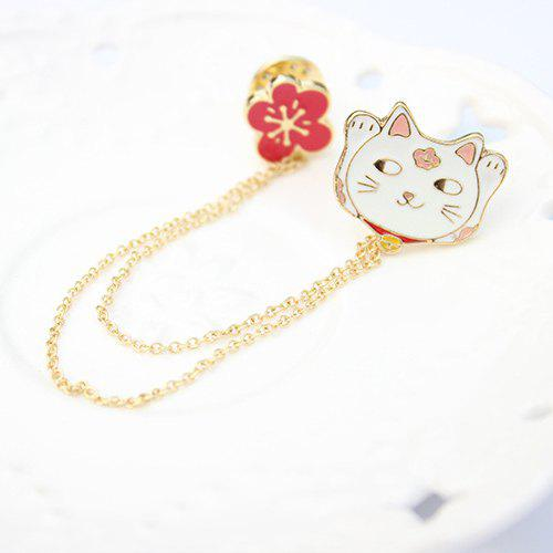 Cute Cartoon Fortune Cat Flower Brooch For Women