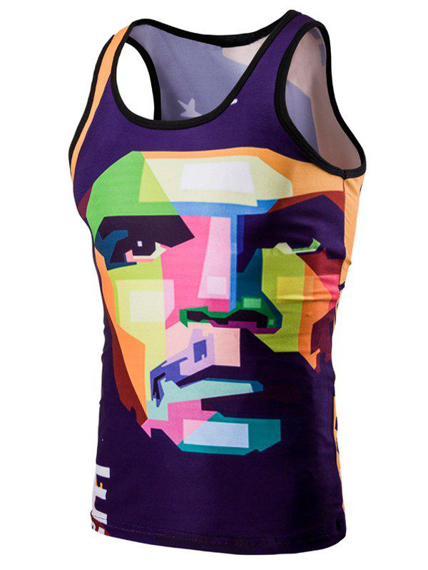 Trendy 3D Round Neck Human Face Printed Men's Tank Top - COLORMIX L