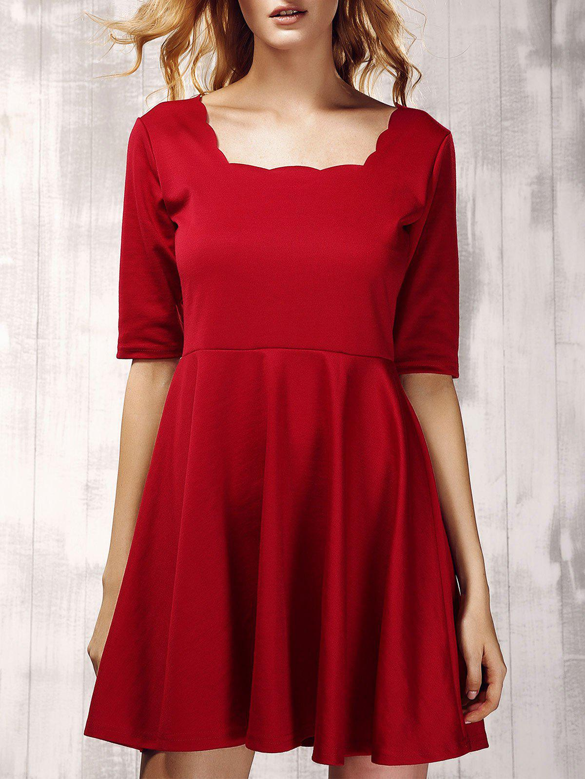 Stylish Women's 1/2 Sleeve Pure Color Pleated Dress - XL WINE RED