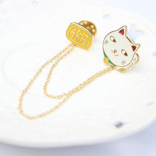 Cartoon Fortune Cat Words Chain Brooch