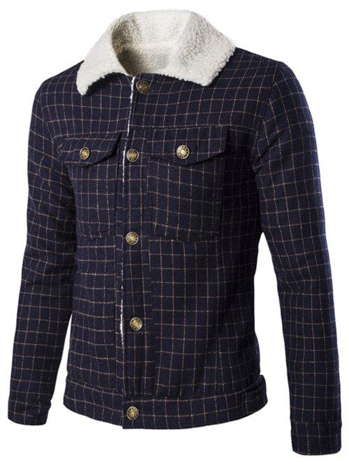 Casual Fur Collar Checked Single Breasted Men's Jackets - CADETBLUE L