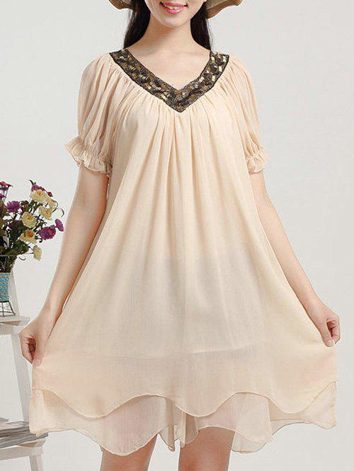 Stylish Women's Plus Size V-Neck Beaded Puff Sleeve Chiffon Dress - BEIGE 3XL