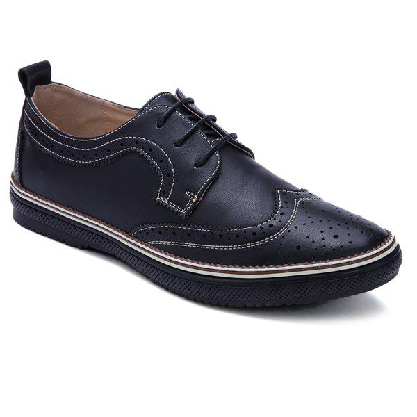 Trendy Engraving and PU Leather Design Men's Casual Shoes - BLACK 43