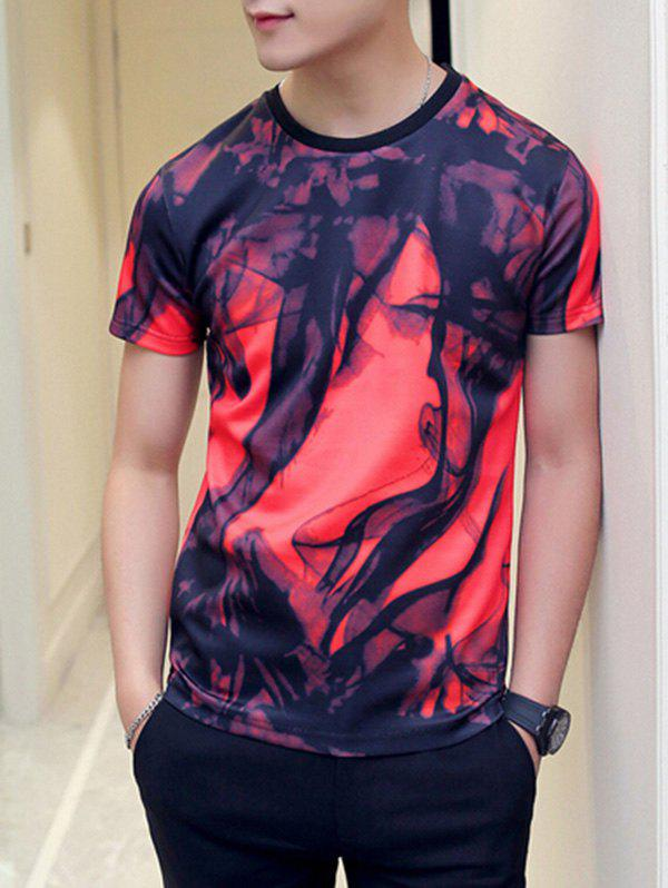 Color Block Abstract Print Round Neck Short Sleeve Men's T-Shirt - RED M