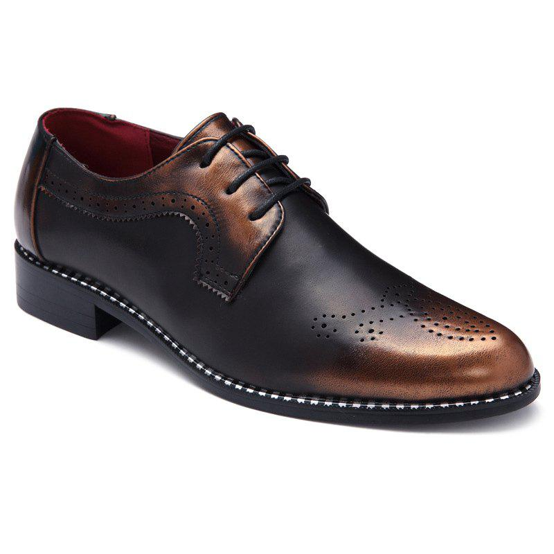 Stylish Colour Block and Engraving Design Men's Formal Shoes - BROWN 40