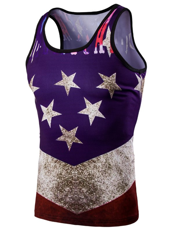 Fashion 3D Round Neck American Flag Printed Men's Tank Top - COLORMIX M