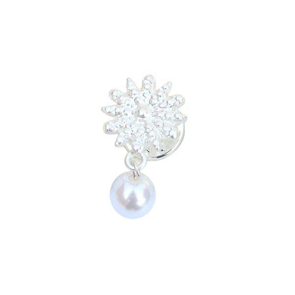 Elegant Faux Pearl Snowflake Brooch For Women - SILVER