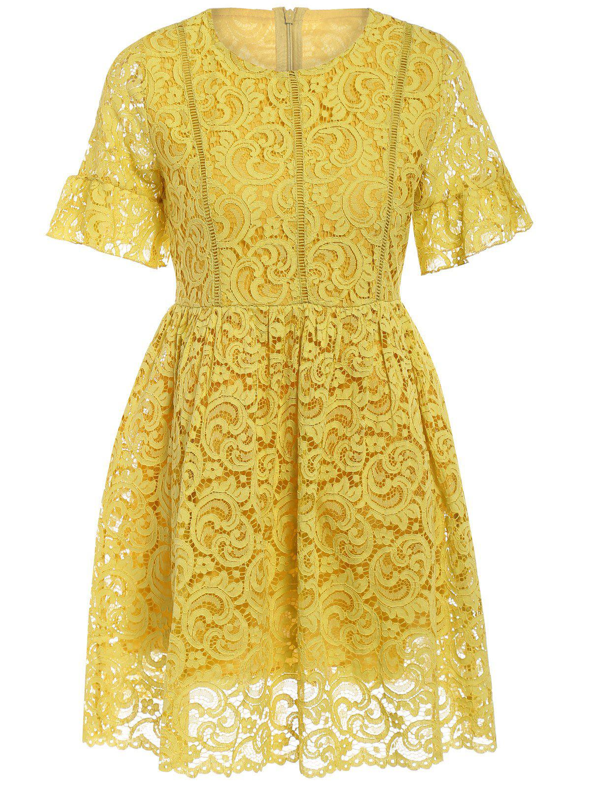 Charming High-Waist Yellow Women's Lace Dress - YELLOW ONE SIZE(FIT SIZE XS TO M)