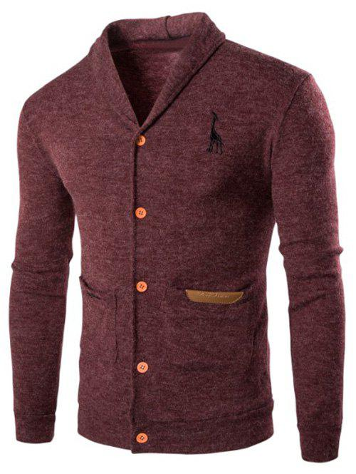 Turn Down Collar Long Sleeve Cardigan - WINE RED M
