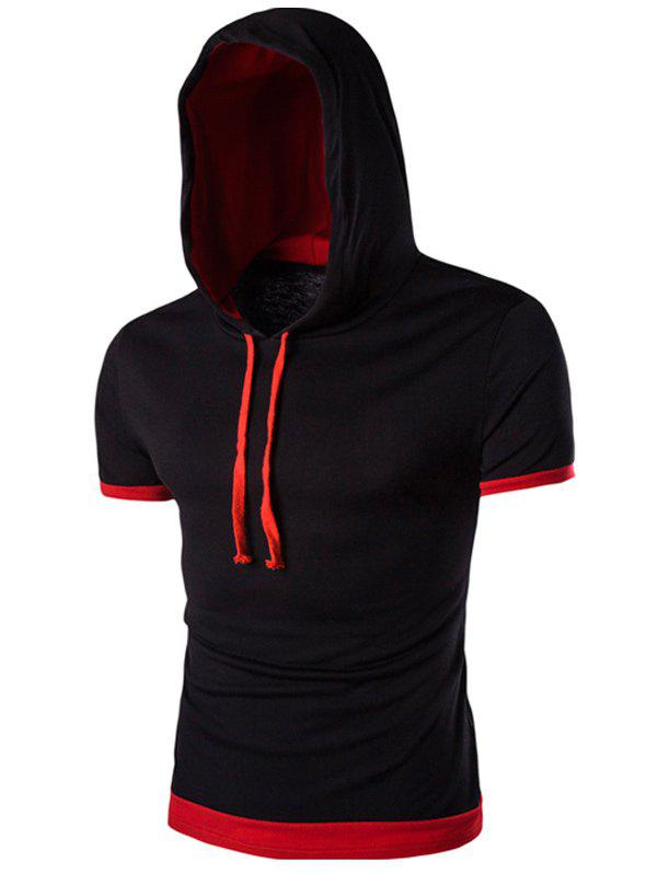 Hooded Flase Twinset Short Color Block Splicing Sleeve Men's T-Shirt - BLACK XL