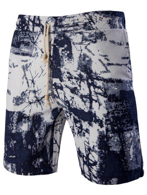 Men's Casual Printed Elastic Waist Board Shorts - COLORMIX L