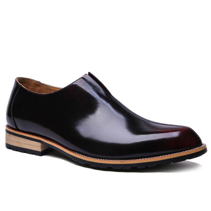 Stylish Elastic and PU Leather Design Men's Formal Shoes - WINE RED 38