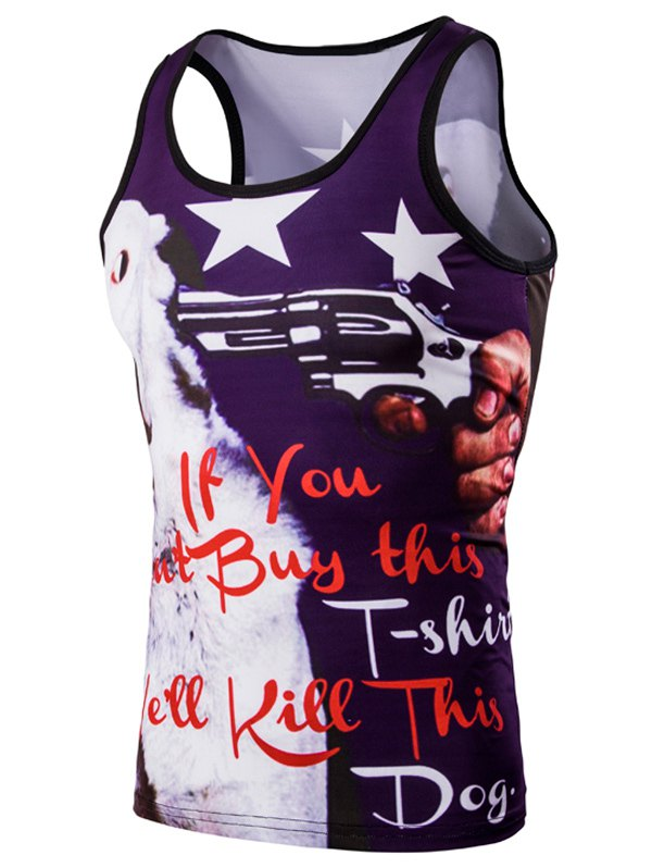 Trendy 3D Round Neck Letter And Stars Printed Tank Top For Men - COLORMIX L