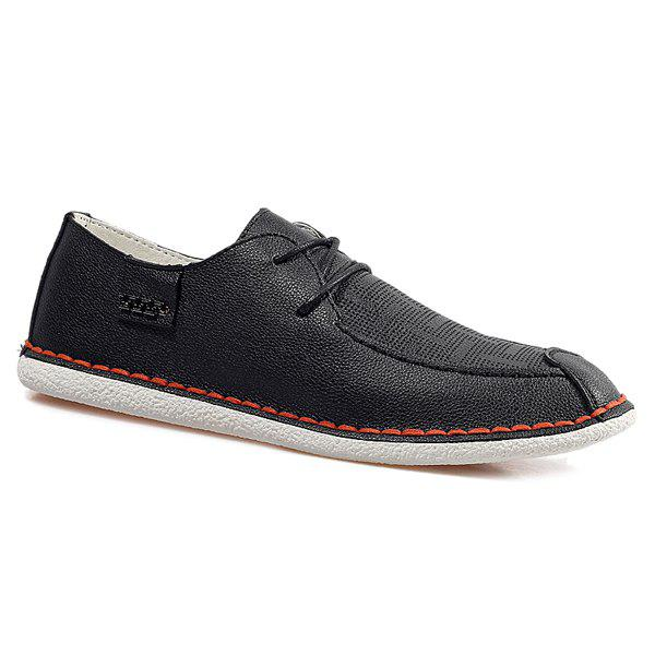 Fashionable Breathable and Metal Design Men's Casual Shoes - BLACK 43