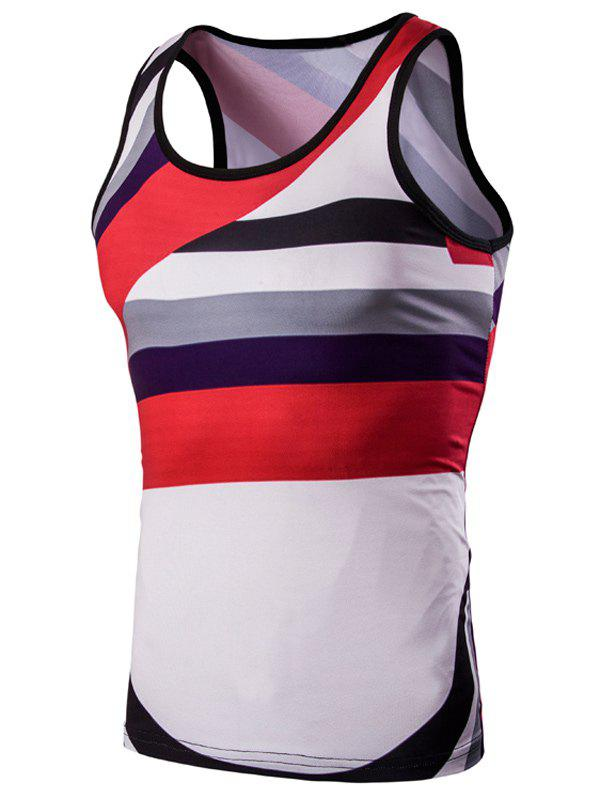 3D Round Neck Irregular Striped Printed Tank Top For Men - COLORMIX M