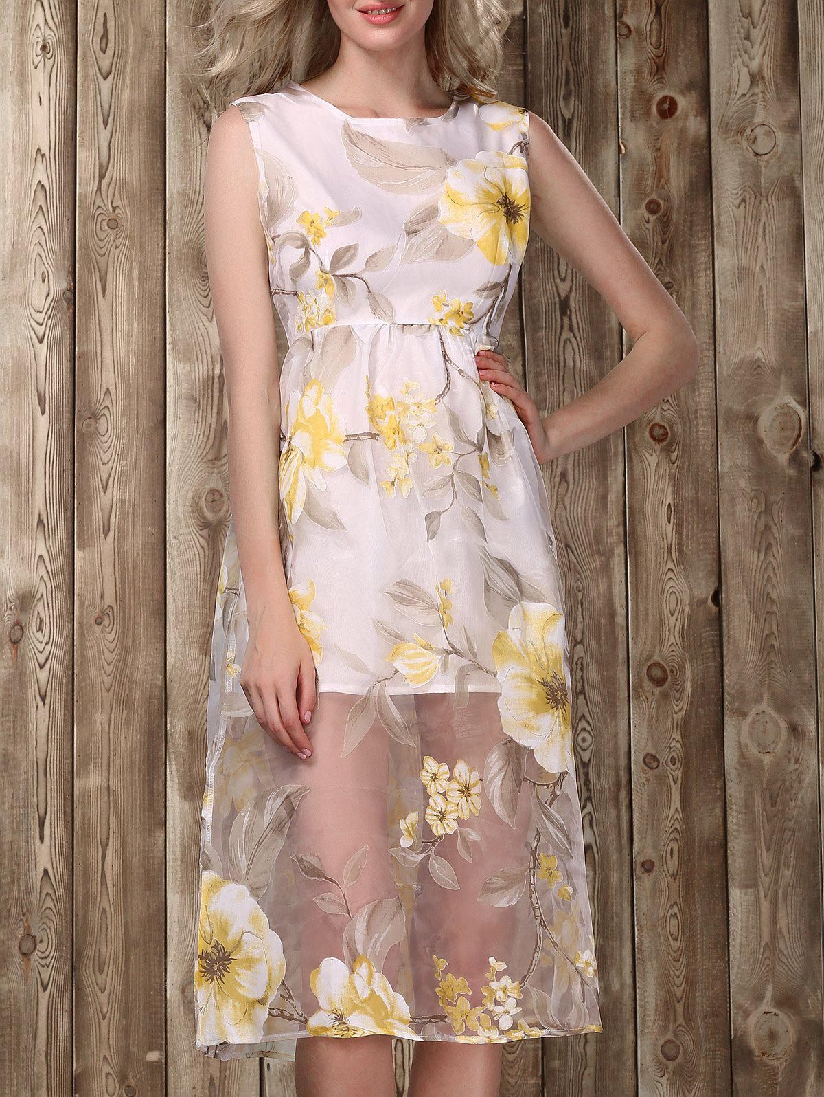 Floral Printed Midi Dress - GOLDEN S
