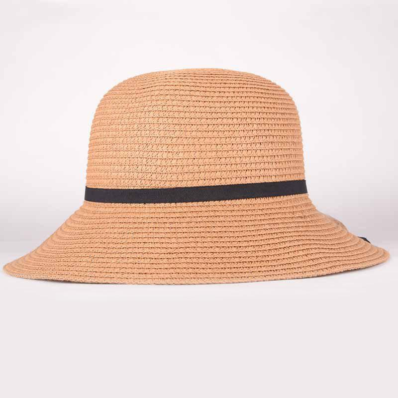 Summer Chic Black Lace-Up Sun-Resistant Women's Straw Hat - KHAKI