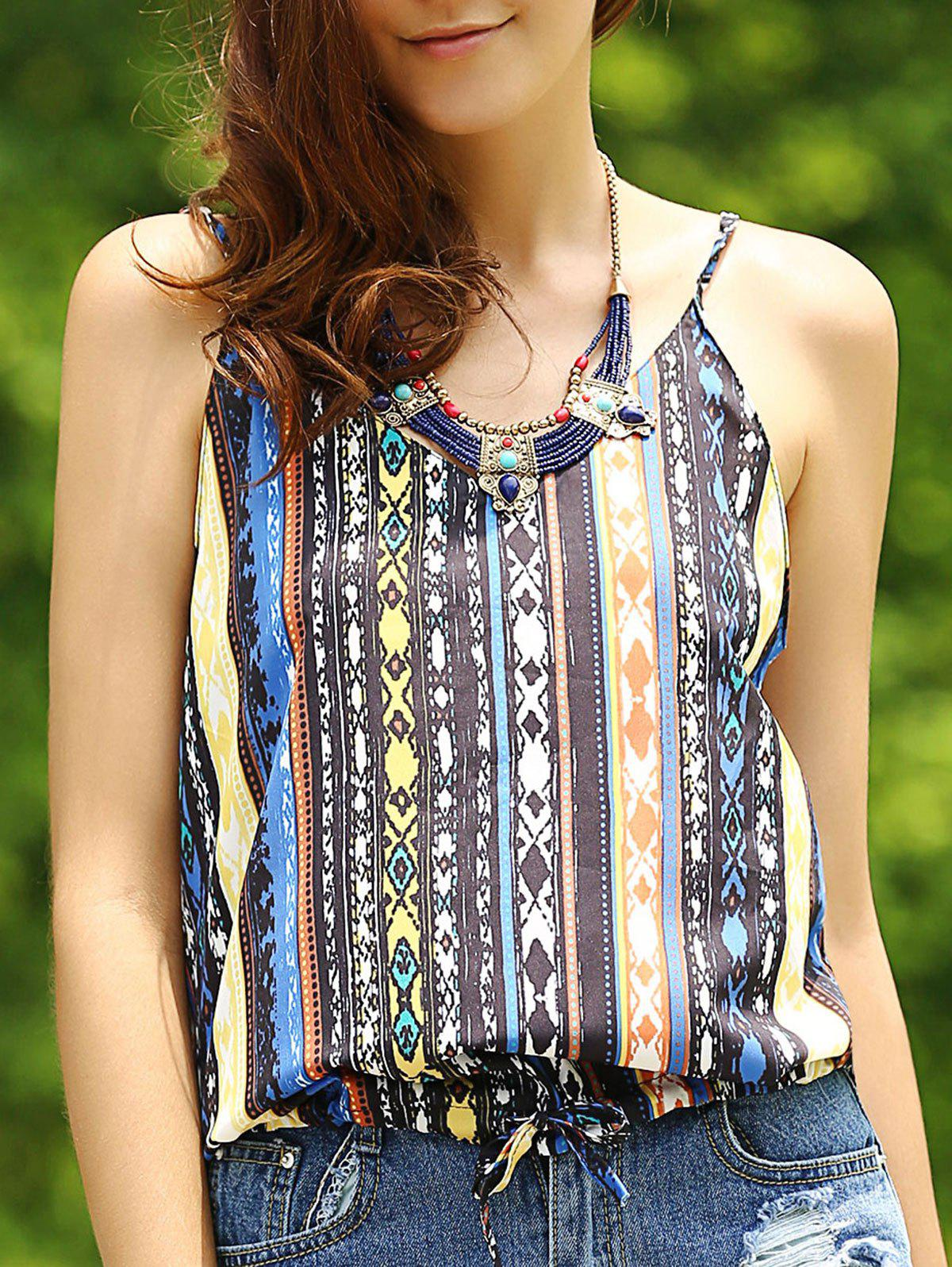 Ethnic Style Printed Spaghetti Strap Women's Tank Top - COLORMIX S