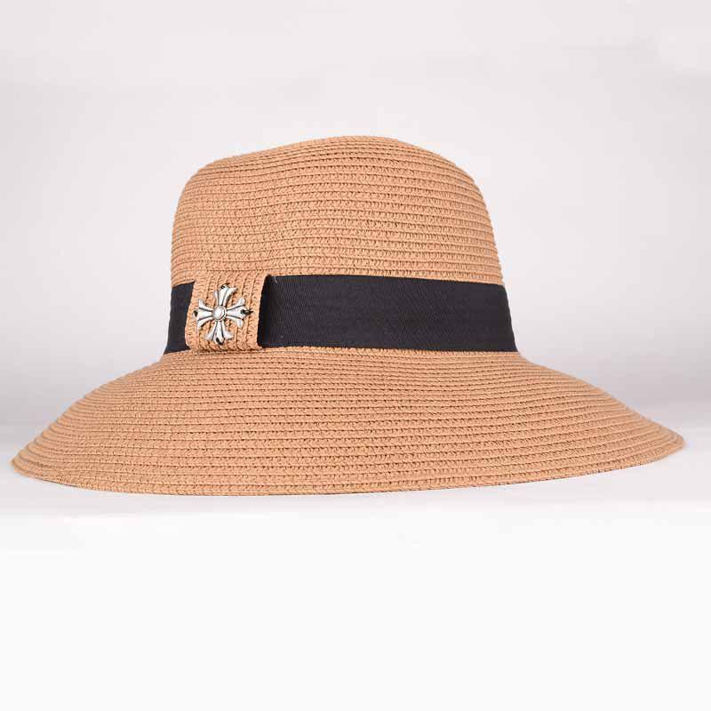 Summer Chic Gothic Cross Black Band Sun-Resistant Women's Straw Hat - KHAKI