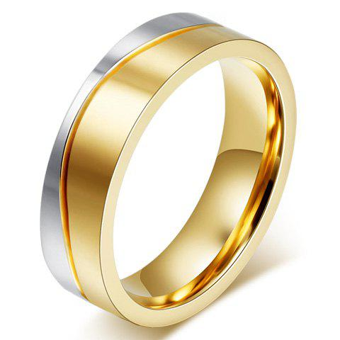 One Piece Two Tone Alloy Ring - GOLDEN