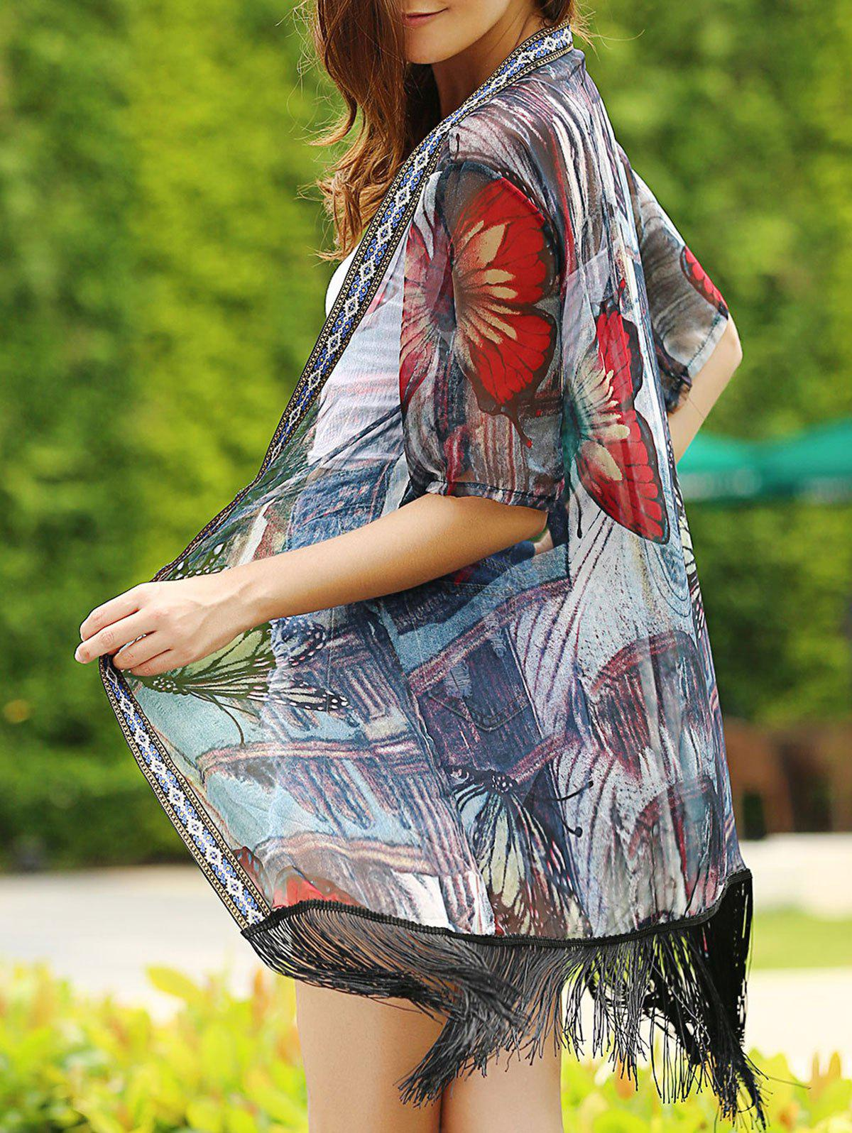 Fashionable 3/4 Sleeve Collarless Fringed Butterfly Print Women's Kimono