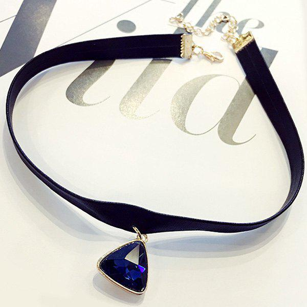 Charming Faux Crystal Triangle Choker Necklace For Women - BLUE