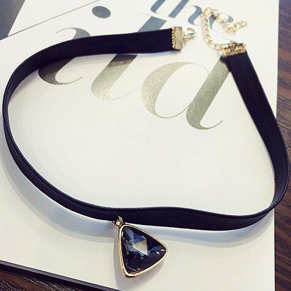 Charming Faux Crystal Triangle Choker Necklace For Women - GRAY